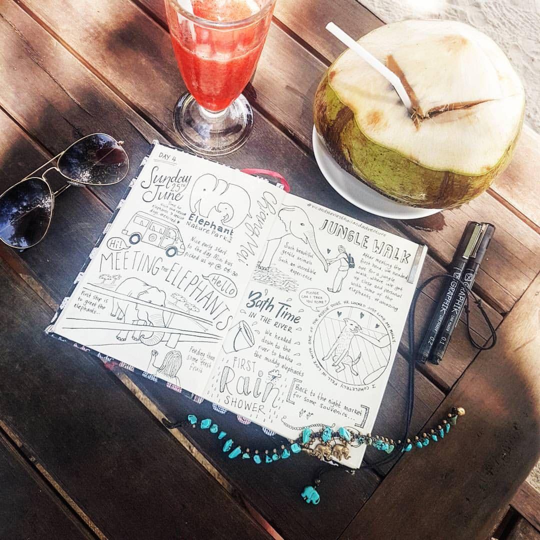 "Vic Dwyer (@vic.dwyer) en Instagram: ""Travel journal. Day 4, Chiang Mai ✌️ #traveljournal #journal #traveldiary #dayfour #sundayfunday…"""