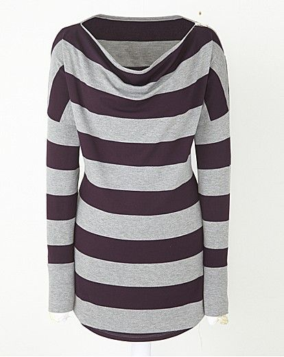 Lazy Lu Cowl Neck Stripe Jersey Top