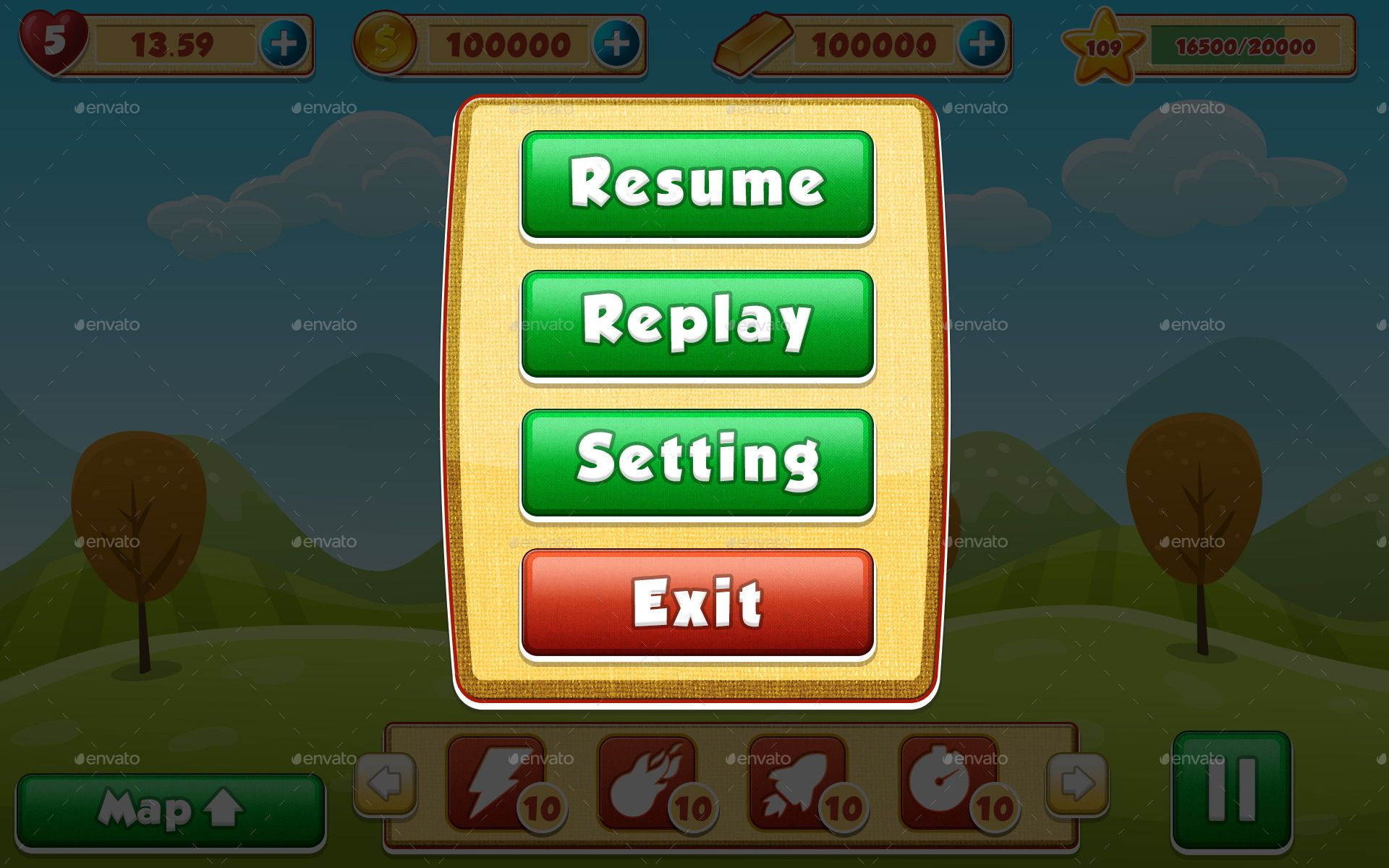 mobile game pause screen - Google Search | Game Paused