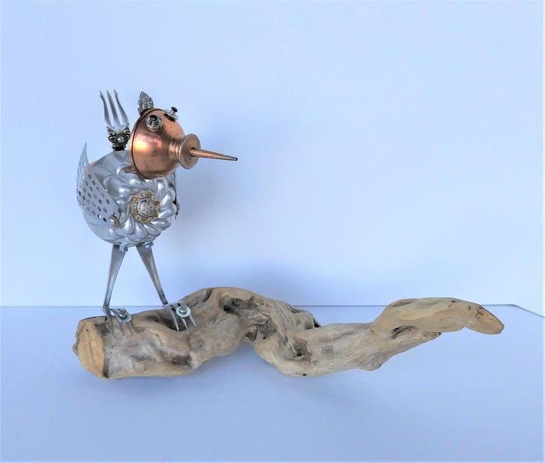 Shore Bird Sculpture Found Object Robot Bird Assemblage Art Beach Decor Bird Lover Gift Upcycled Repurposed Recycled Bird Sculpture Bird Lover Gift Found Object
