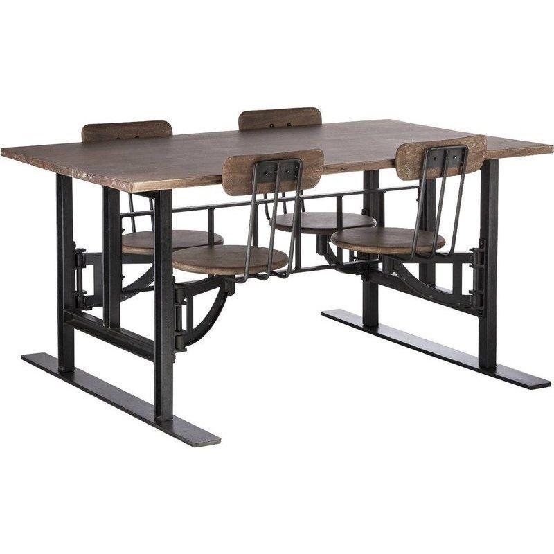 Iron Wood Kids Dining Table Set W 4 Swivel Chairs Dinner Table Chairs Dining Table Setting Cafeteria Table