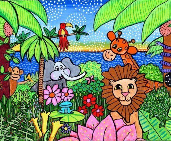 Jungle Animals Childrens Print Shelagh Duffett | Art ...