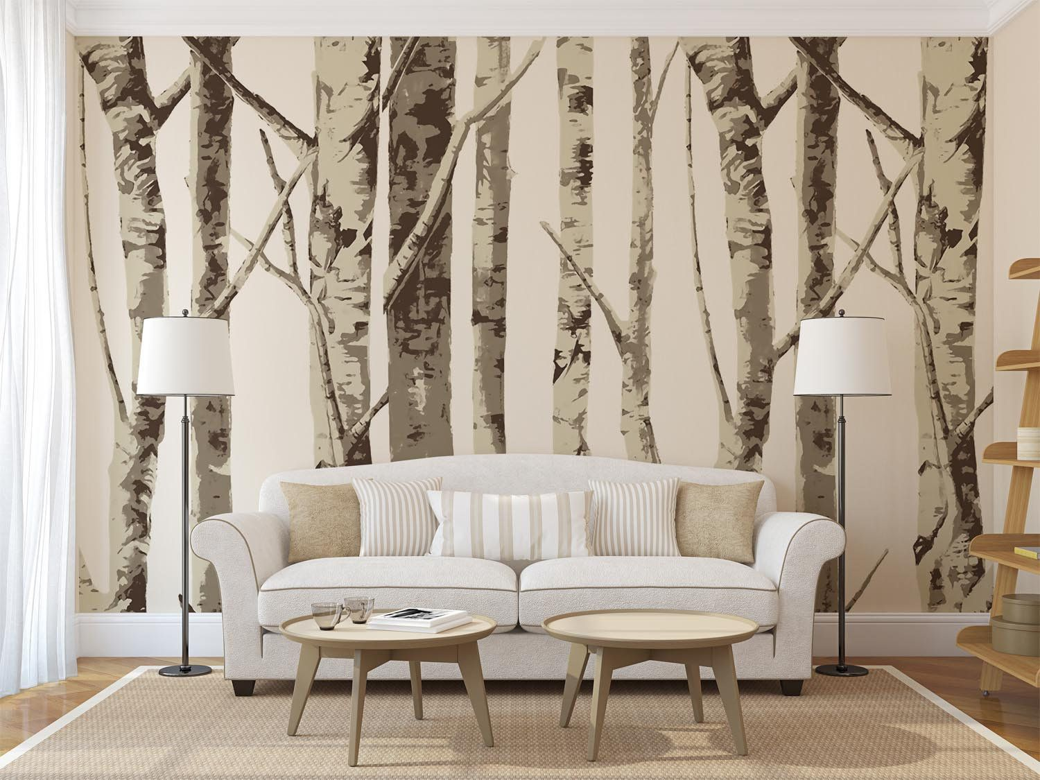 Best Gray Birch Tree Wallpaper Removable Forest Wall Paper Home Bedroom Wall Decor Decal Peel And 640 x 480