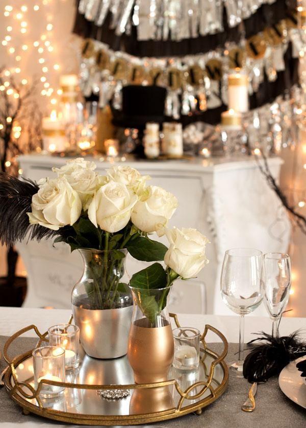 Elegant New Years Diy Metallic Vases New Years Eve Decorations