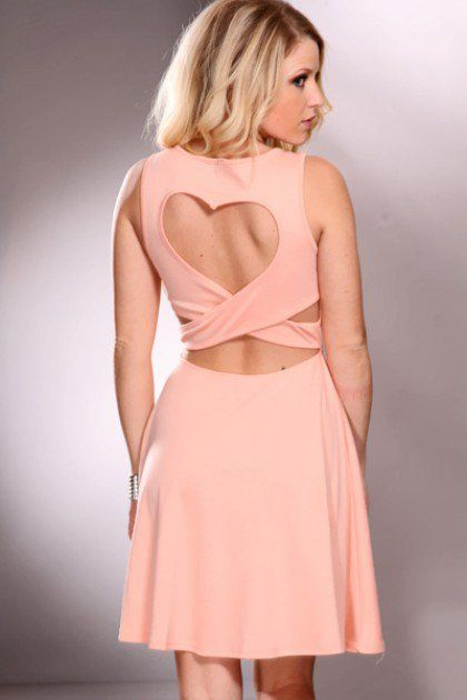 8ccfc62b72519 Peach V Neck Spike Decor Back Heart Design Party Dress   Amiclubwear sexy  dresses