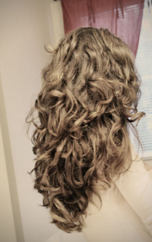 Sock Curls.  I did wrapped my hair last night and it looks exactly like this today!  I LOVE IT!!