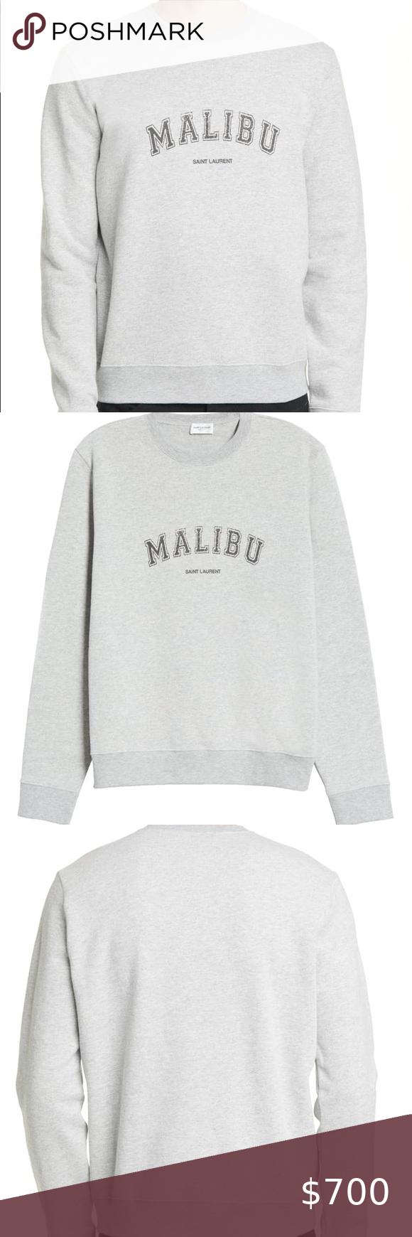 Saint Laurent Malibu Graphic Crewneck Sweatshirt In 2020 Crew Neck Sweatshirt Sweatshirts Sweatshirt Fleece [ 1740 x 580 Pixel ]