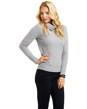 Magaschoni Light Silver Mouline Cable Knit Cashmere Turtleneck Sweater