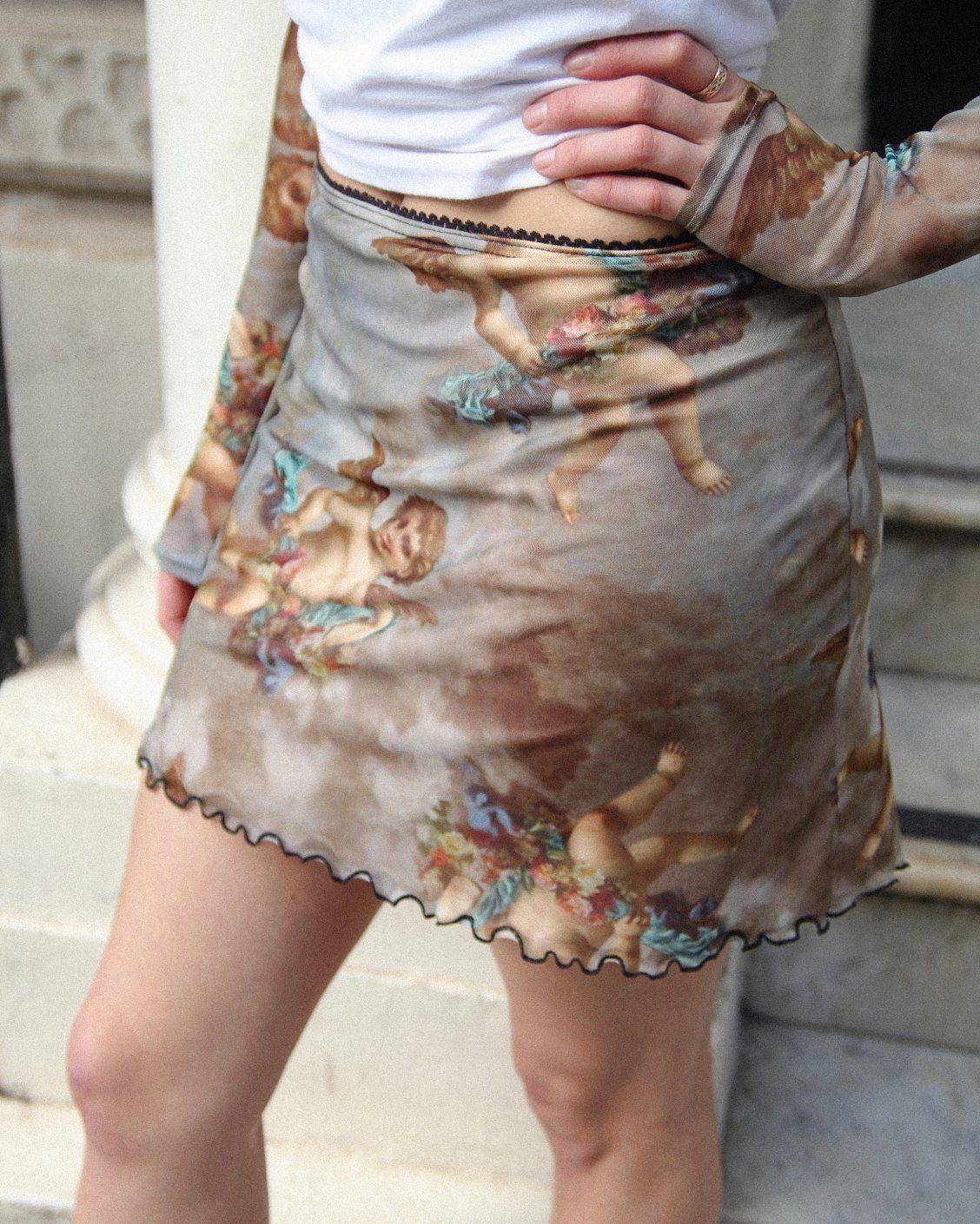 4896c61ce3cb9 UO Cherub Print Ruched Mesh Mini Dress