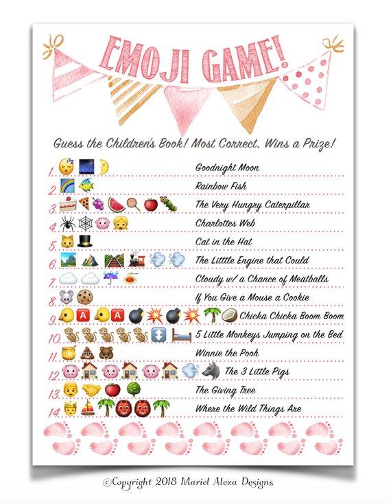 Baby Emoji Pictionary Answers Free : emoji, pictionary, answers, Emoji, Pictionary, Childrens, Shower, Answers, Viewer