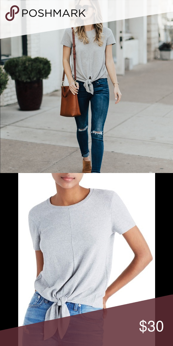 b5d741d91eae1e Madewell tie-front tee Grey tie front t-shirt. 100% Cotton Madewell Tops  Tees - Short Sleeve