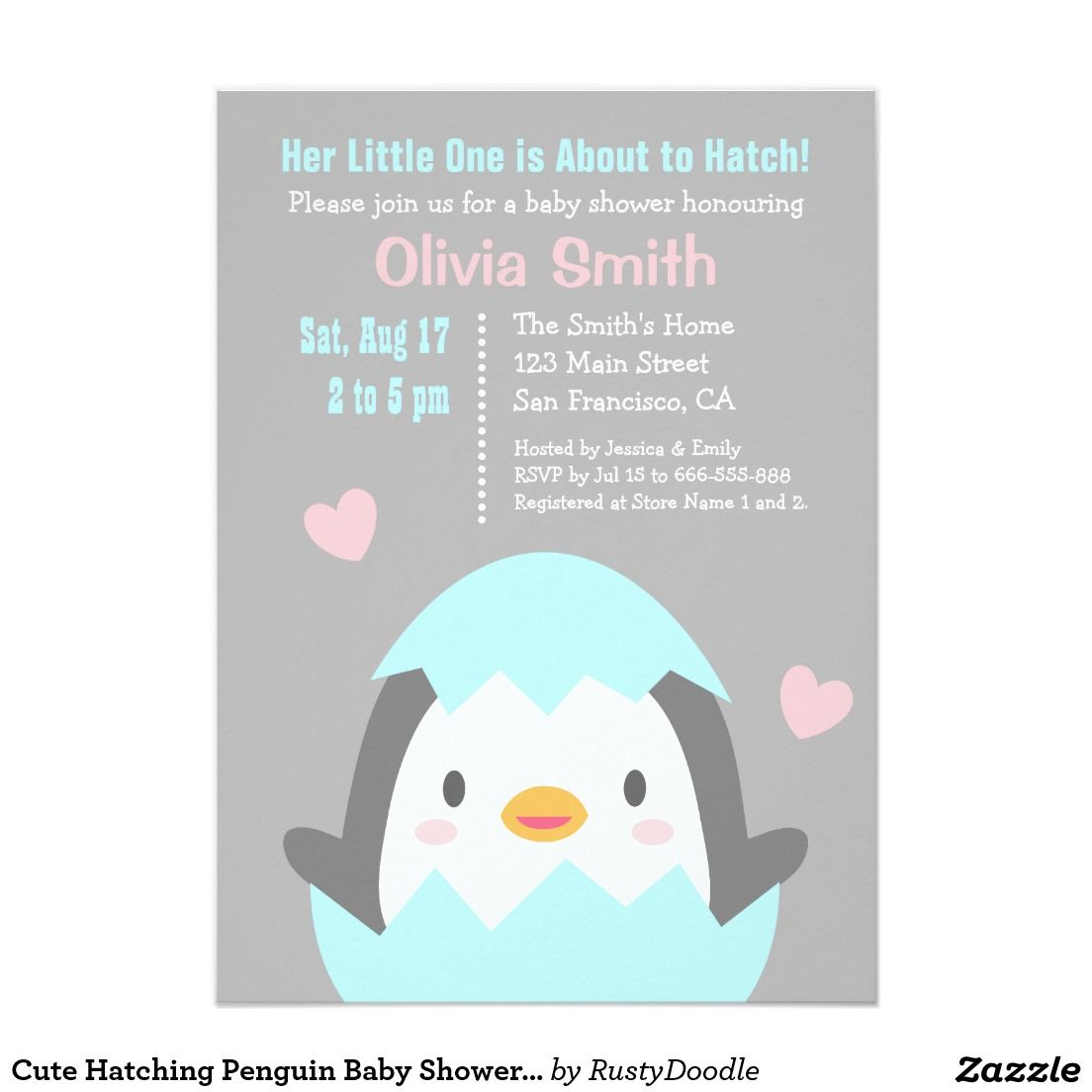 Cute Hatching Penguin Baby Shower Invitations | Baby showers y Bebe