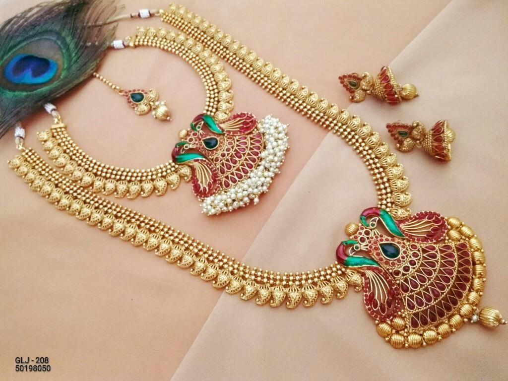 Beautiful semi bridal set necklace and long haaram with mango