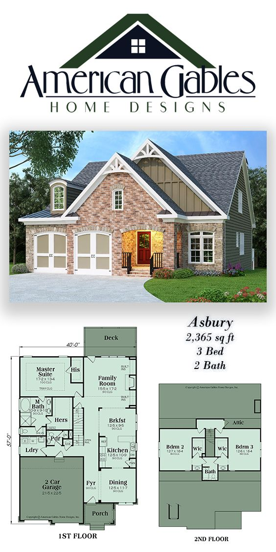 Narrow Lot Plan 2365 square feet, 3 bedrooms, 2 bathrooms, Asbury