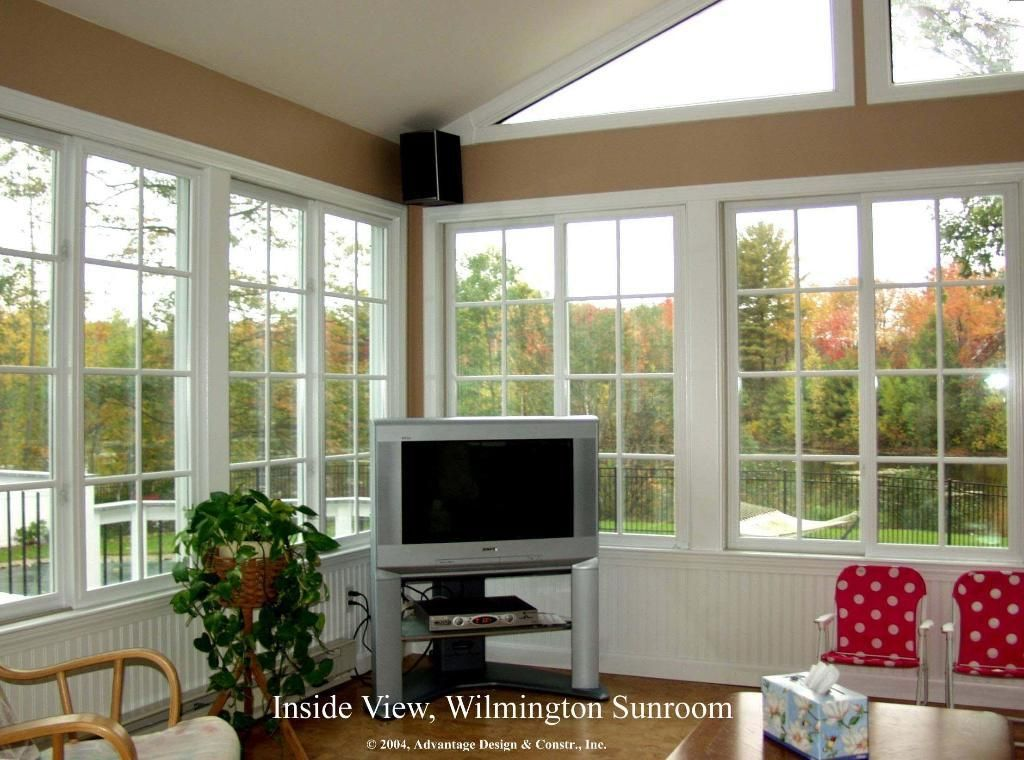 Interior Of Gable Roofed Sunroom In Wilmington, MA