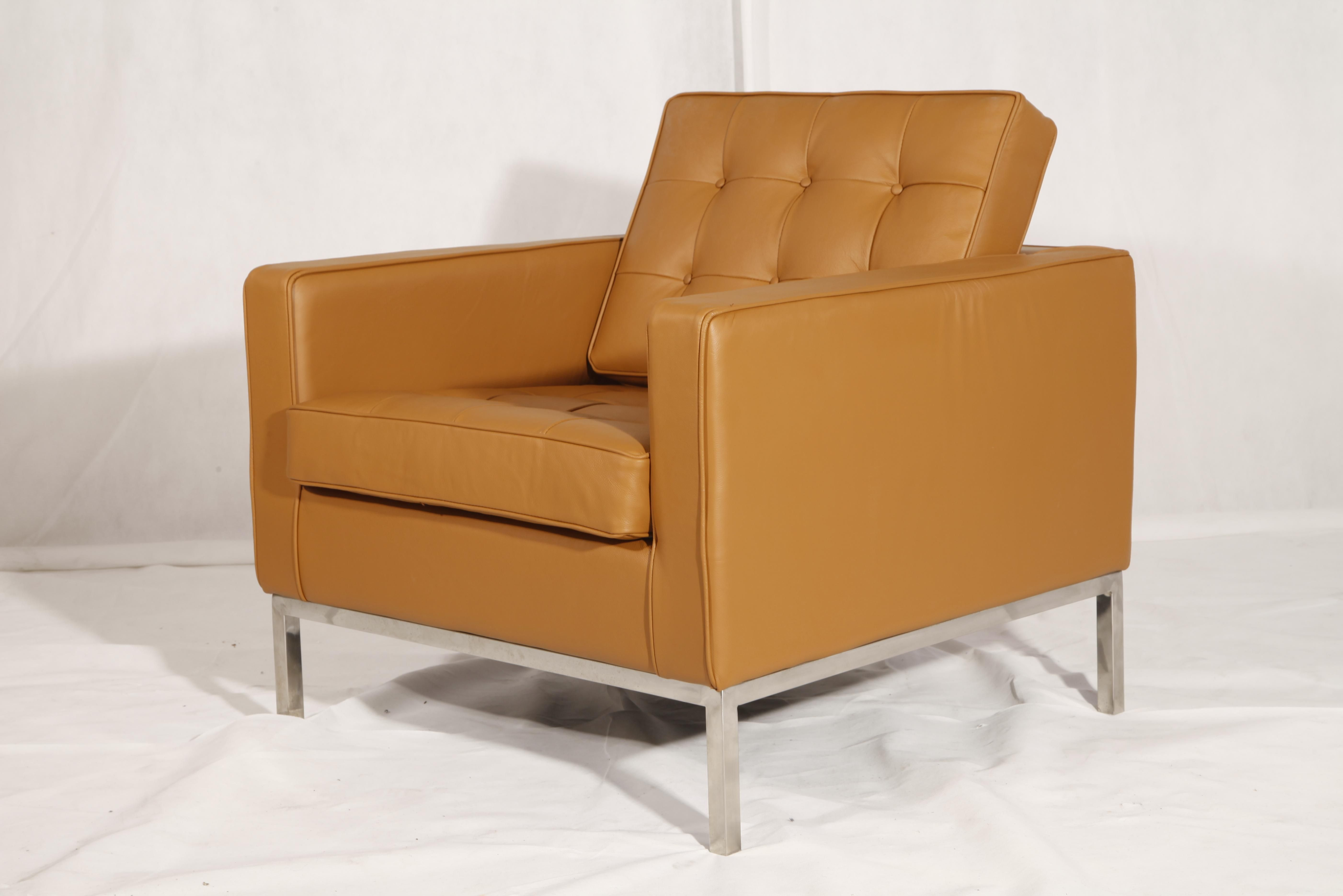 Florence Knoll Chair Tan Leather Reproduction