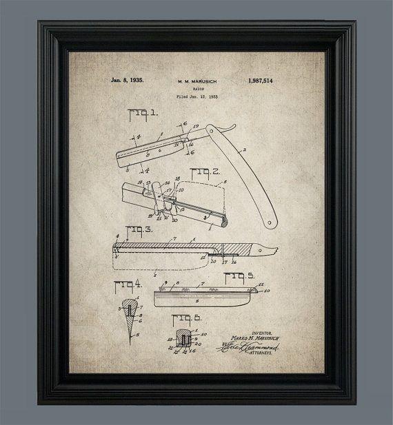 Vintage Straight Razor Barber Tool- Patent Print- Instant Download ...