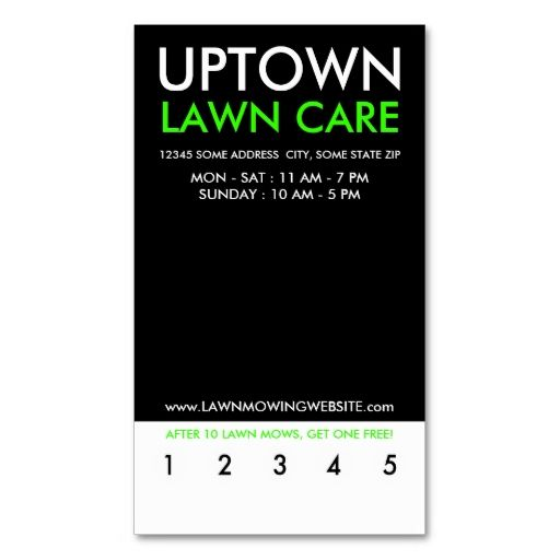 Uptown Lawn Care Punch Card Business Card Template I Love This - Lawn care business card templates