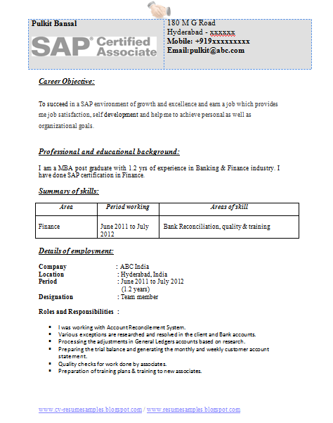 Professional Curriculum Vitae Resume Template For All Job Seekers Sample Template Of An Experienced Mba In Ba Finance Career Finance Curriculum Vitae Resume