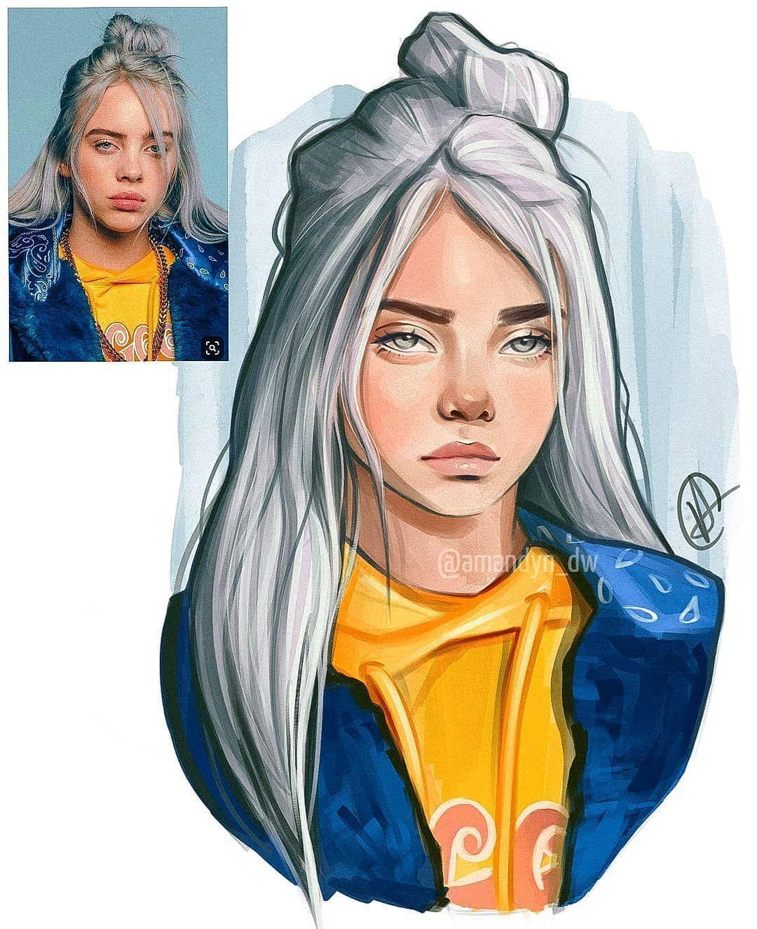 Amandyn On Instagram My Portrait Of Billie Eilish Made With Procreate I Try To Make In 2020 Celebrity Drawings Billie Eilish Portrait