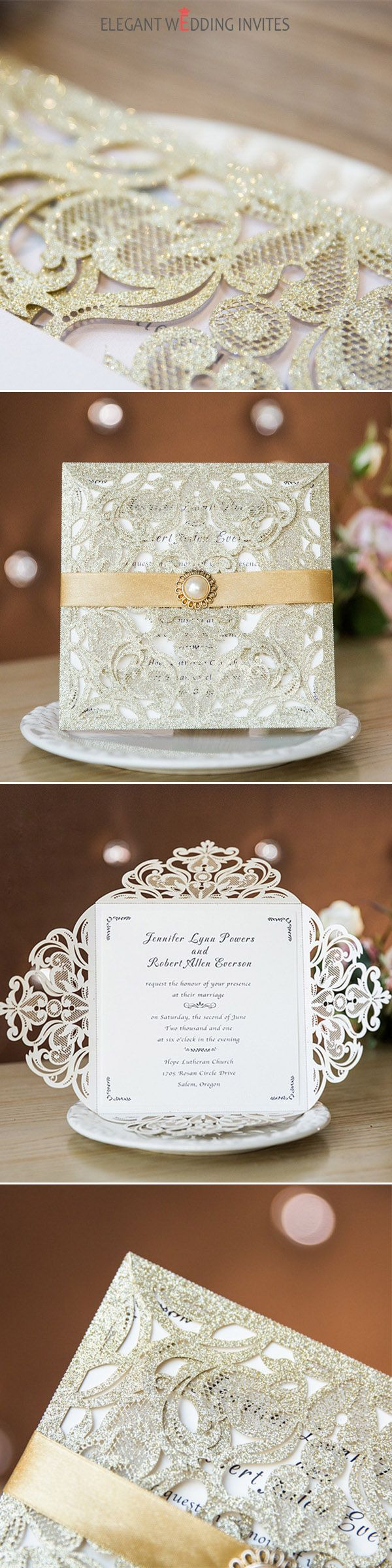 Luxurious gold glittery laser cut wedding invites with pearl buckle ...