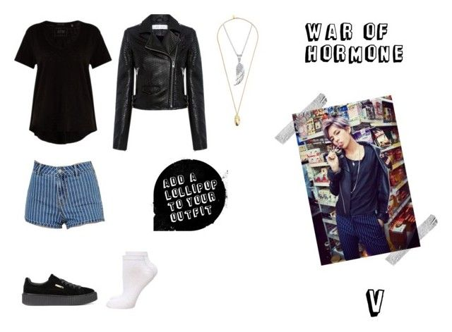 """""""V (War Of Hormone MV)"""" by alliegarzon ❤ liked on Polyvore featuring Kendall + Kylie, ATM by Anthony Thomas Melillo, IRO, Dorothy Perkins, Puma and Pembe Club"""