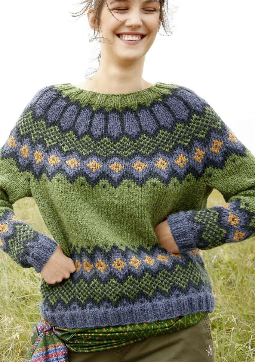 Jacquard Pullover mit Rundpasse   Handgestrickte pullover