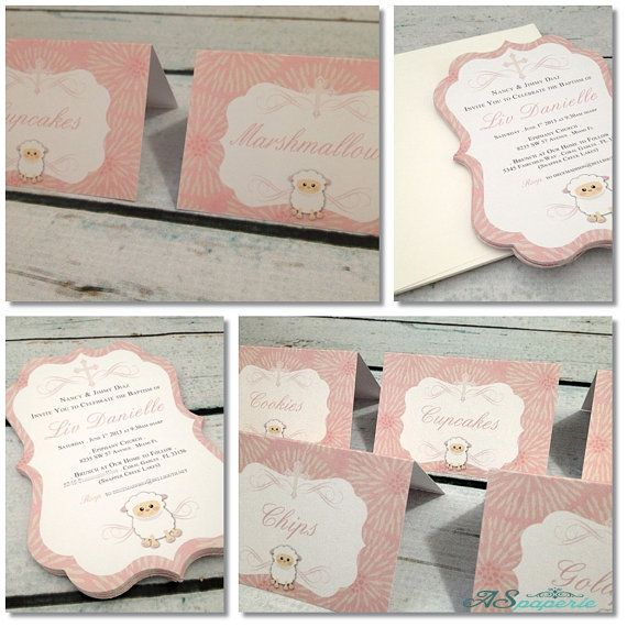 Fancy Edge BAPTISM Invitation by ASPaperie on Etsy, $2400 Sheep - sample baptismal invitation for twins