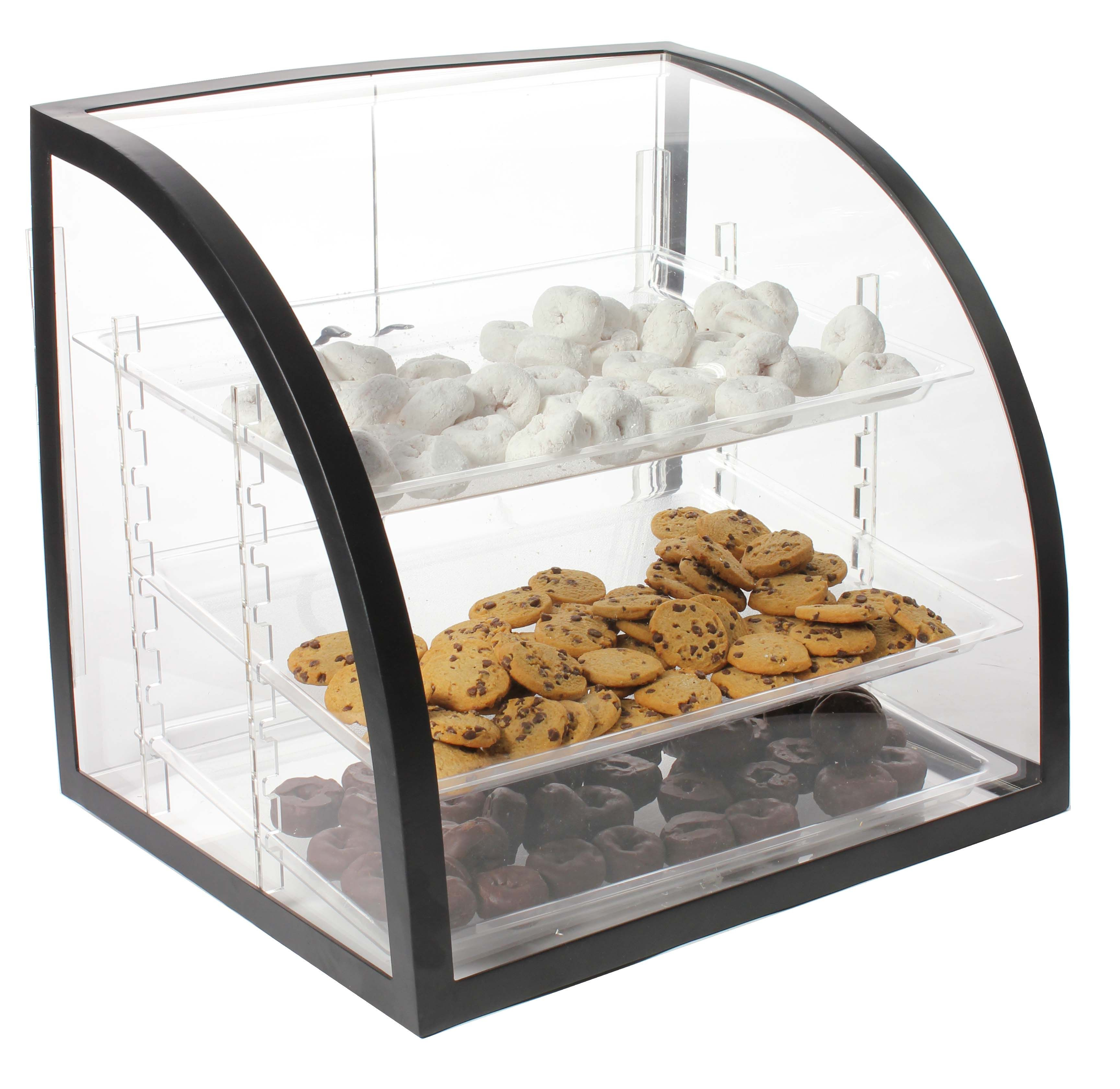 Acrylic Food Display Case W 3 Plastic Trays Black Frame