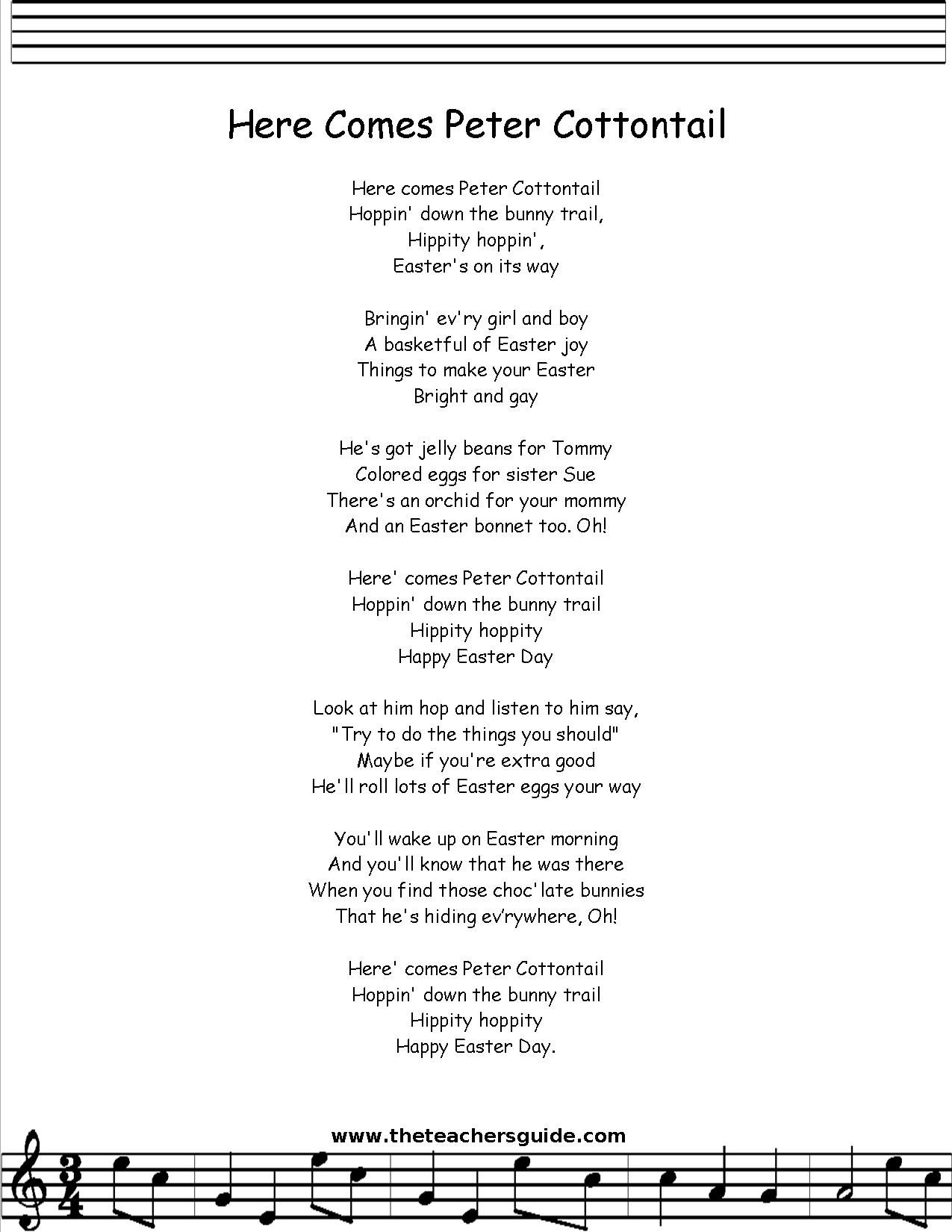 Peter Cottontail lyrics printout | Children's Poetry