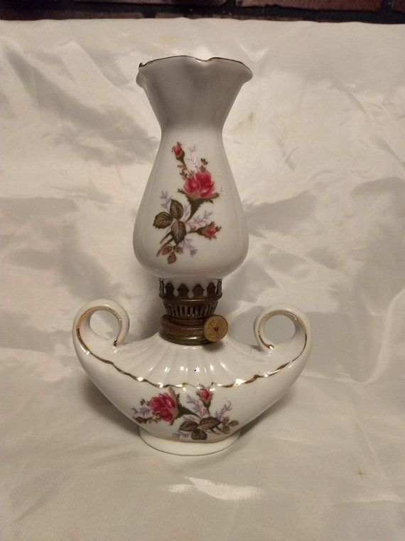 Royal Sealy Moss Rose Miniature Hurricane Lamp A To Z