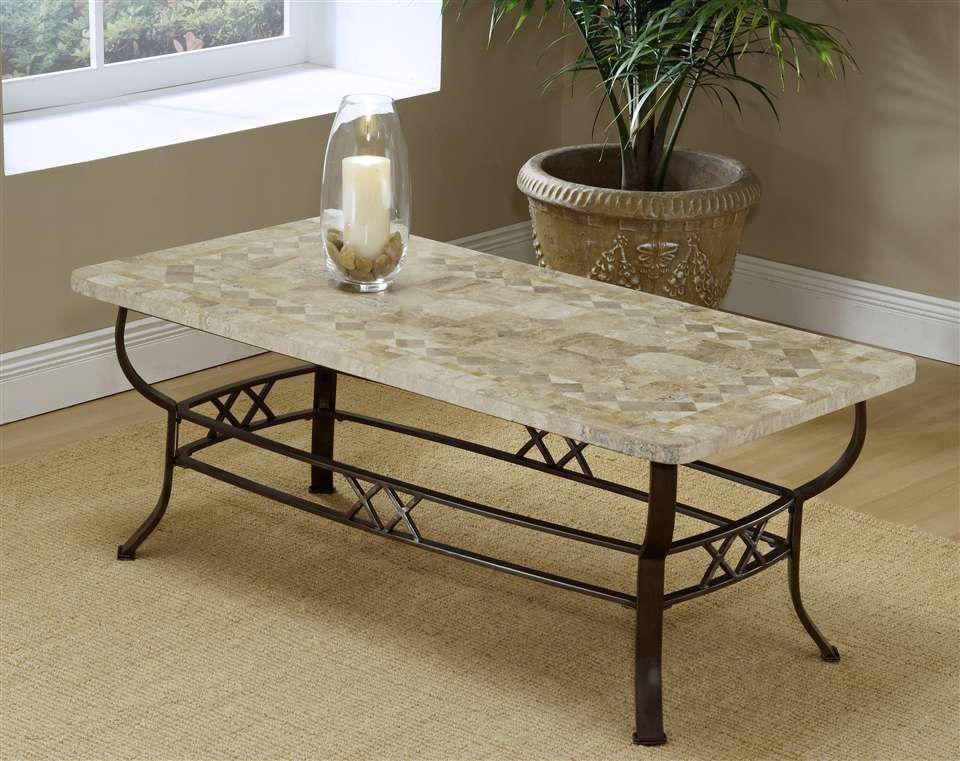 Amazing LINE #1537 Hillsdale Furniture   Brookside Wrought Iron Coffee Table W  Fossil Stone Top