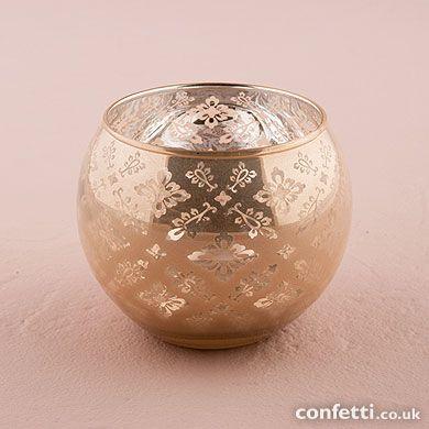 Glass Globe Holder with Reflective Lace Pattern