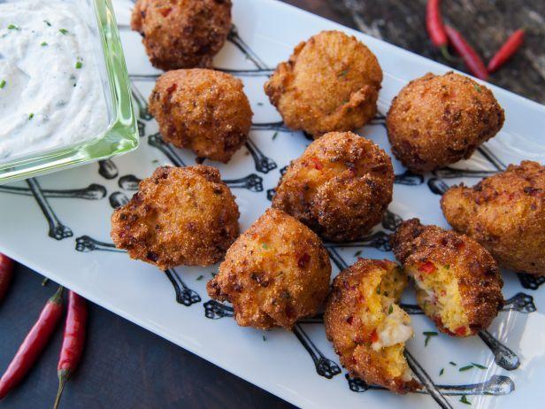 Lobster Hushpuppies With Horseradish Cream Recipe Food Network Recipes Appetizer Recipes Horseradish Cream