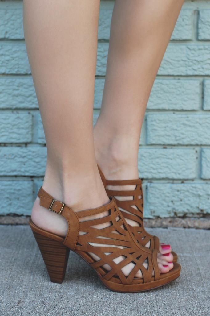 Caged Open Toe Ankle Strap Heels
