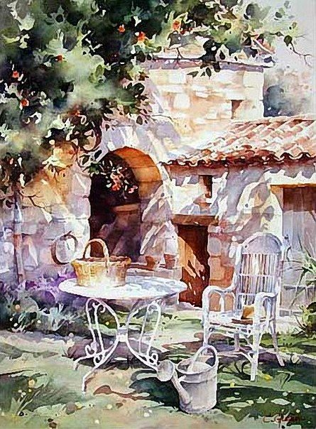 Le salon de jardin en 2019 architecture aquarelle Peinture salon de jardin