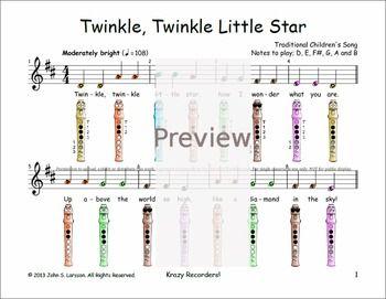 Easy recorder twinkle twinkle little star pinterest twinkle easy recorder twinkle twinkle little star ccuart Gallery