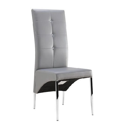 351ebbf5435 Vesta Studded Dining Chair In Grey Faux Leather