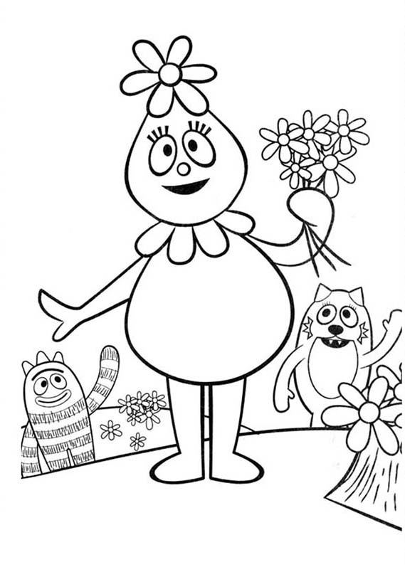 Pink Flower Bubble Foofa From Yo Gabba Gabba Coloring Page Coloring Sun
