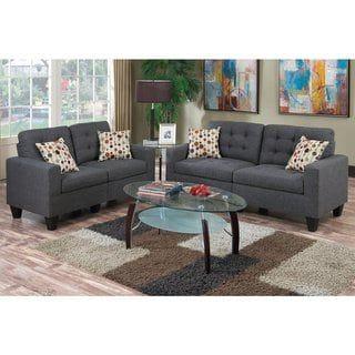Peachy Bobkona Windsor Linen Like Poly Fabric 2 Piece Sofa And Theyellowbook Wood Chair Design Ideas Theyellowbookinfo