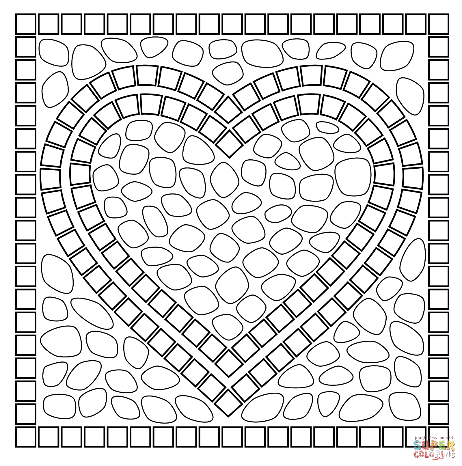Valentines day mandala coloring pages - Mosaic Heart Coloring Page Free Printable Coloring Pages
