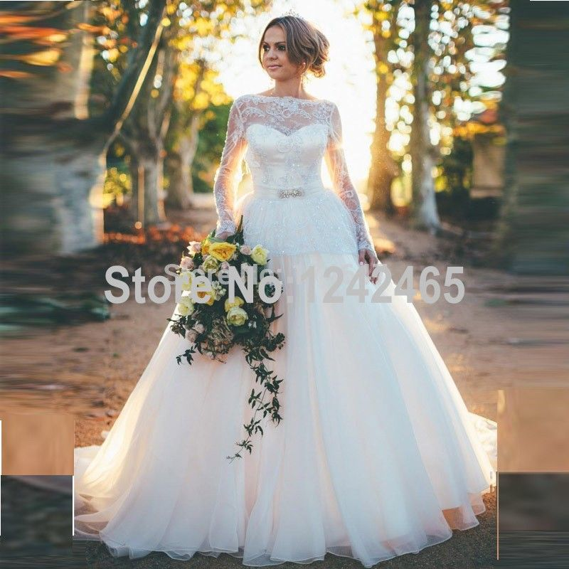 Find More Wedding Dresses Information about Sexy Ball Gown Elegant Wedding Dresses Sweep Train Lace Overlay Long Sleeve Bridal Dresses With Sash MC39,High Quality dress jewellery,China dress spike Suppliers, Cheap dress update from TBNA Bridal on Aliexpress.com