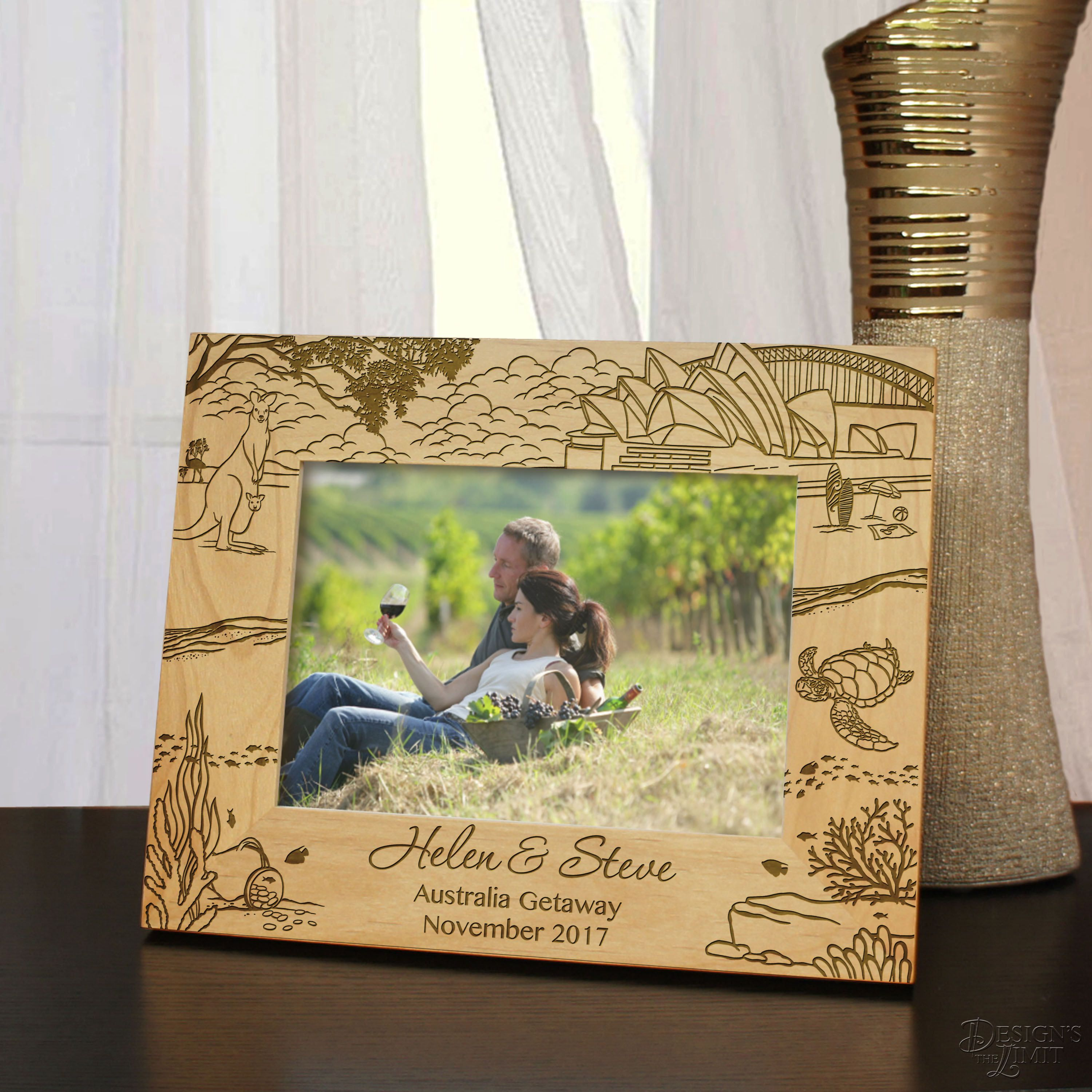 Select Size, Design, and Frame Orientation Australian Getaway Outback Inspired Personalized Picture Frame Engraved with Font Selection