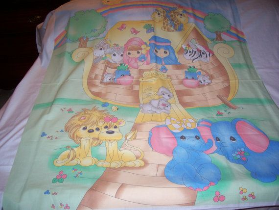 Baby Precious Moments 2002 Noahs Ark Baby Quilt Fabric by quilty61, $9.99