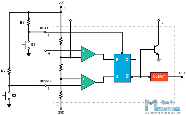 555 Timer IC - Working Principle, Block Diagram, Circuit Schematics on operational amplifier applications, 555 timer data, operational amplifier, 555 timer pinout, 555 timer circuit board, 555 timer flip flop, 555 timer astable circuit, 555 timer flasher circuit, 555 timer taser circuit, 555 timer ic, 555 timer pins, 555 timer diagram, 555 timer voltage control, phase-locked loop, phase-shift oscillator, relaxation oscillator, electronic oscillator, 555 timer delayed on, wien bridge oscillator, 555 timer tutorial, crystal oscillator, voltage-controlled oscillator, 555 timer led, 555 timer traffic light, 555 timer relay circuit, 555 timer laser alarm,