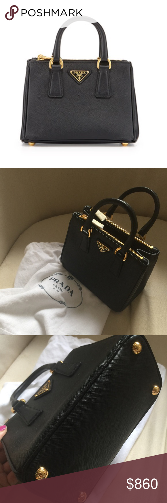 a6c4cedbac46 PRADA Saffiano mini Galleria bag,black It's new and never been used. I lost  the removal strap due to my carelessness, and I don't like to carry it  without ...