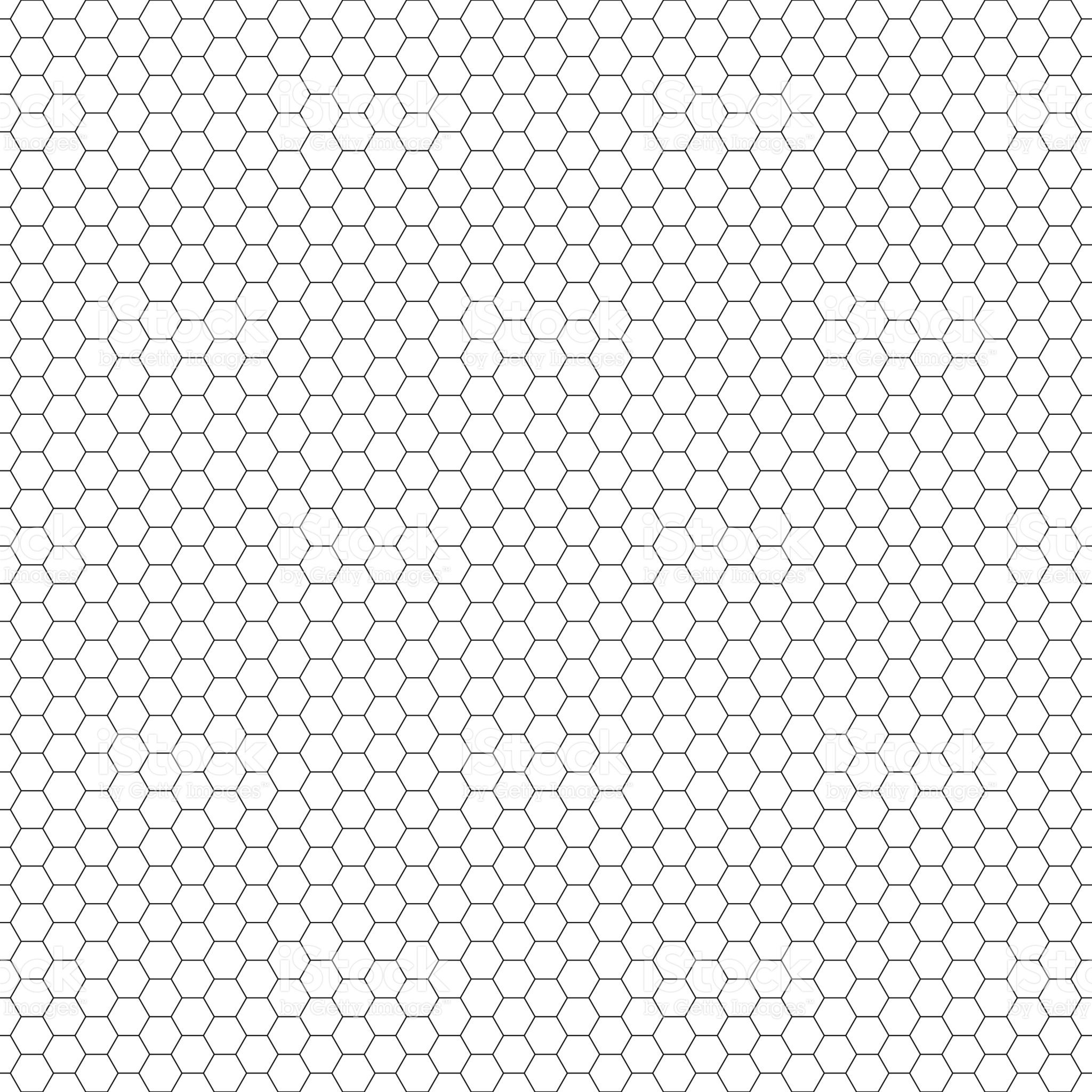 Vector Seamless Pattern Hexagon Grid Texture Black And