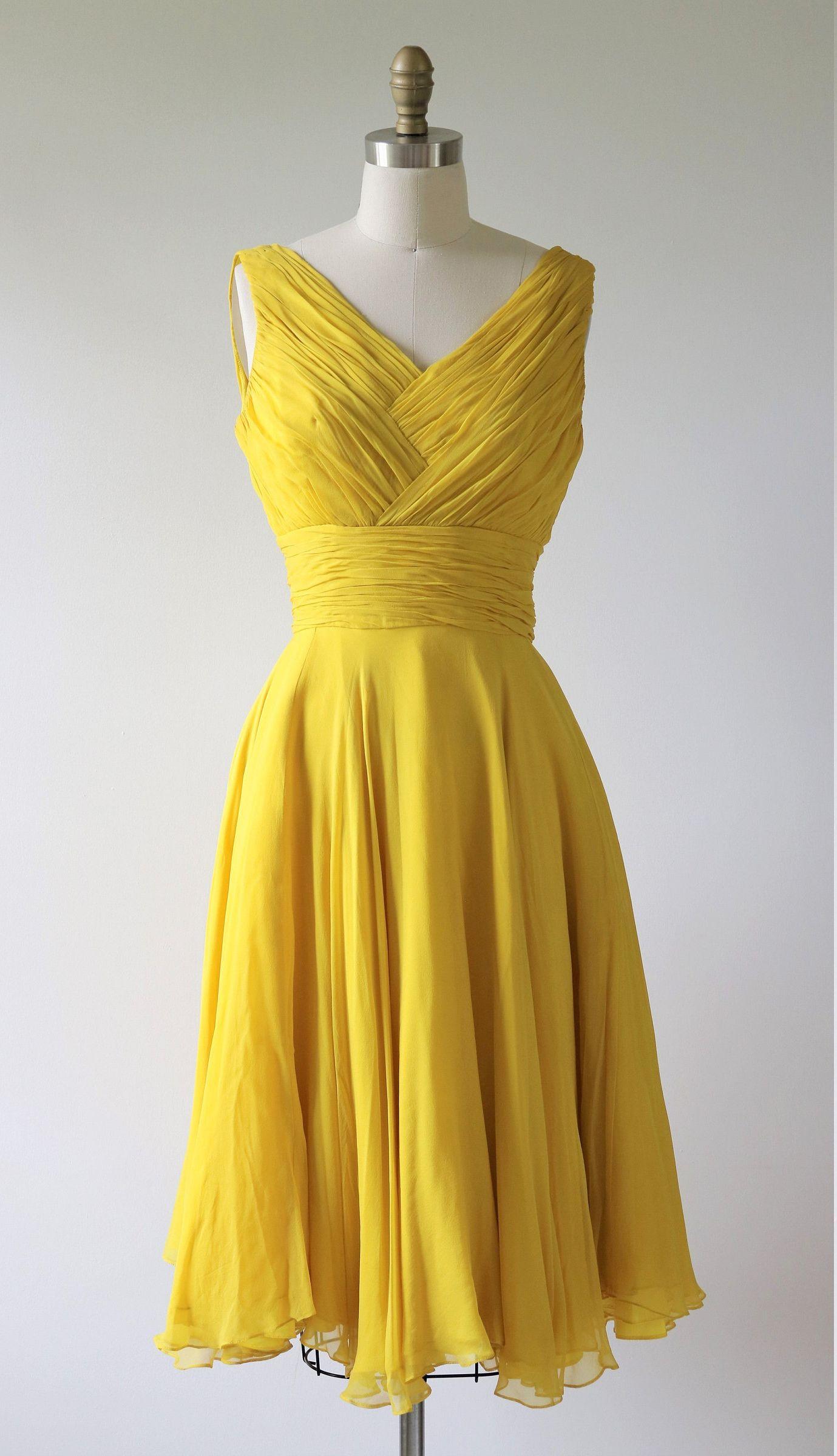1960s Mr Frank Formal Dress Daffodil Yellow Ruched Sleeveless Etsy Dresses Formal Dresses Vintage Dresses [ 2400 x 1379 Pixel ]