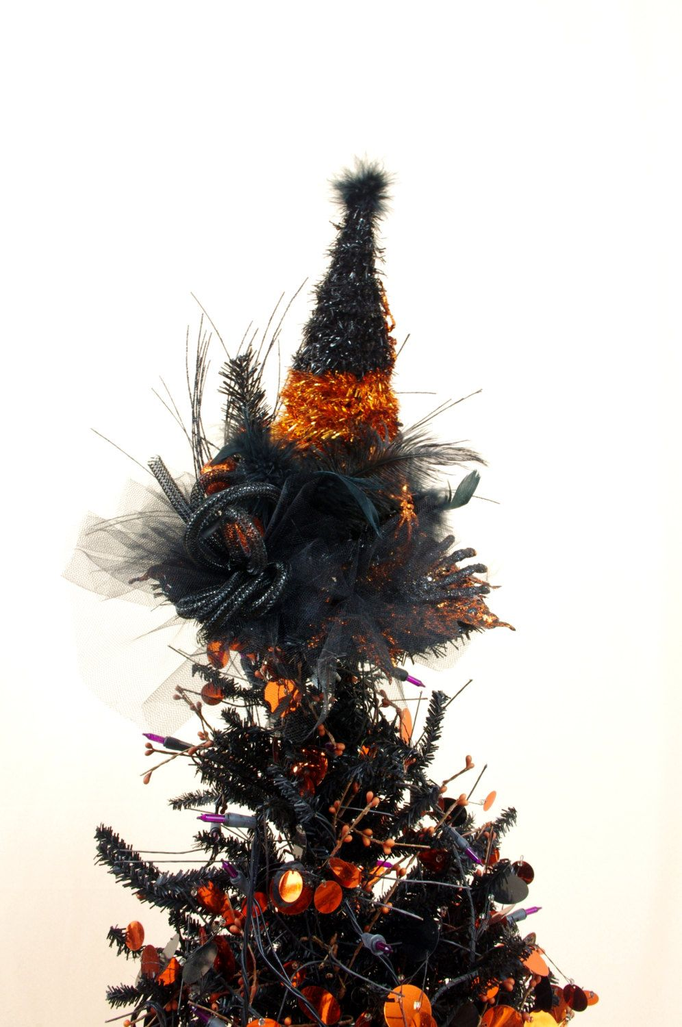 Witch Hat Tree Topper * Black and Orange Centerpiece