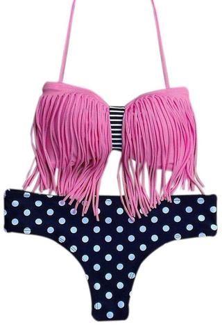 7203b1bff44a0 Tassel Bikini Polka Dot Bottom Bathing Suit Halter Bikini, Sexy Bikini,  Bandeau Top,